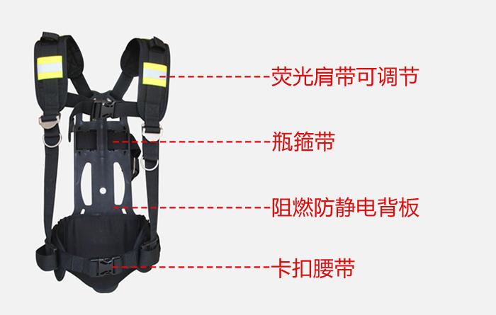 金盾正压式空气呼吸器背板采用碳纤维复合材料注塑加工,质轻坚韧,防水阻燃,防静电,背托根据人体背部生理曲线特征,使装具的重量主要分布在臀部,从而增强佩戴者肩臂的活动能力,携带轻便,不易滑动和移位;肩带由阻燃聚酯织物制成,背带采用双侧可调结构,使重量落于腰胯部位,减轻肩带对胸部的压迫,使呼吸顺畅,并在肩带上设有宽大弹性衬垫,减轻对肩的压迫,肩带特添加两对荧光条,方便在夜间作业,定位,更安全;卡扣腰带设计,易于调节,锁紧后不脱落无松动,穿戴快捷,大大节约了救援抢险时间。